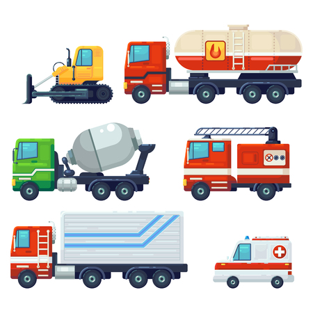 Contains such as Heavy industrial vehicle car, tractor, Construction machine, Fire fighting car . Can be used for websites, infographics, mobile apps. . Flat cartoon Vector Illustration Graphic Design. Banco de Imagens - 127209953