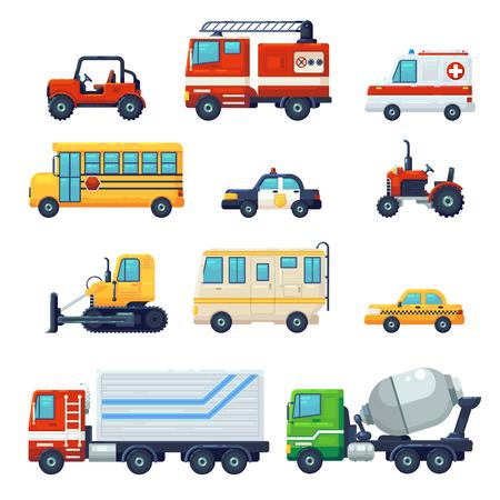 Zawiera takie jak ciężki samochód przemysłowy, ciągnik, autobus szkolny pogotowia policyjnego, samochód przeciwpożarowy. Może być używany na stronach internetowych, infografikach, aplikacjach mobilnych. . Płaskie kreskówka wektor ilustracja projekt graficzny