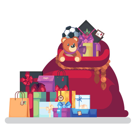 Full bag of gifts from Santa Claus. Christmas decorative element. flat vector illustration isolate on a white background. easy to use Stock Photo