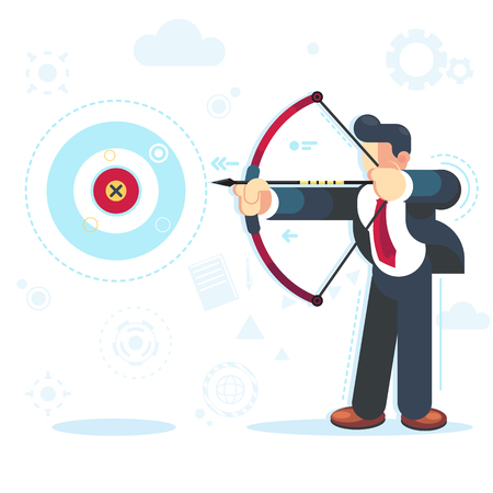 Flat vector businessman aimming target Concept business vector illustration reach your goal Banco de Imagens