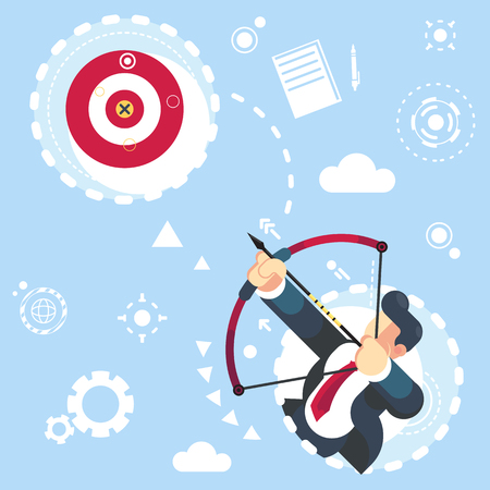 Flat vector businessman aimming target Concept business vector illustration reach your goal Banque d'images - 120737331