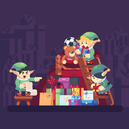 Elf carrying present into bag with gifts Merry Christmas. Funny Santa Claus helper. Cheerful cute elf. Cartoon character holding gift box and bag. Vector flat illustration.