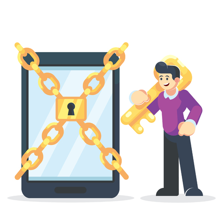Man characters holding key and unlock privacy smartphone personal data information. Data protection online login password concept. Vector flat cartoon graphic design isolated illustration - Vector. Banque d'images - 126842777