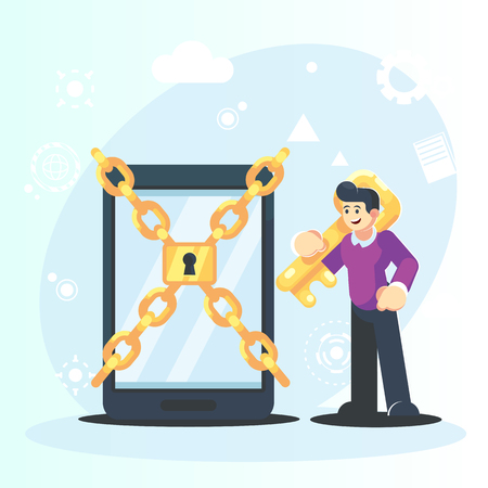 Man characters holding key and unlock privacy smartphone personal data information. Data protection online login password concept. Vector flat cartoon graphic design isolated illustration - Vector. Banque d'images - 126842778