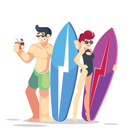 Vector young couple characters. Cartoon flat style vector illustration. Family vacation. Beach, summer, ocean. Surfing board. Man and woman. Vector flat illustration isolated on white background Illustration