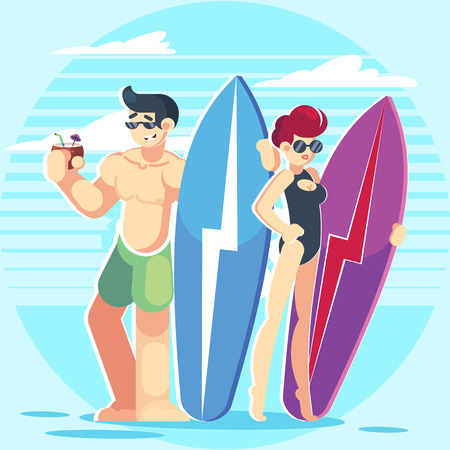 Vector young couple characters. Cartoon flat style vector illustration. Family vacation. Beach, summer, ocean. Surfing board. Man and woman. Ilustração