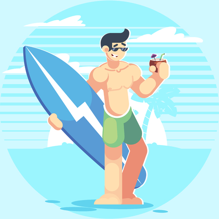 Male character on the beach. Man with a surfboard and coconut. Cartoon flat style illustration. Beach, summer, vacation, ocean, tourist, travel. Surfing board Vector