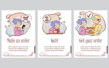 Presentation slide template. Hand drawn cute doodle Shopping concept illustration. Vector Illustration - Vector Ilustração
