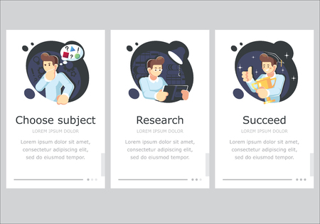 Steps for success. Study and life achievements and success concept. Vector flat illustration - Vector illustration Illustration