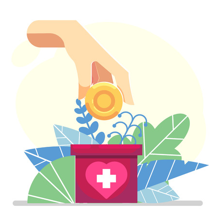 hand depositing coin in a carton box banner donate - flat floral Vector charity help concept.