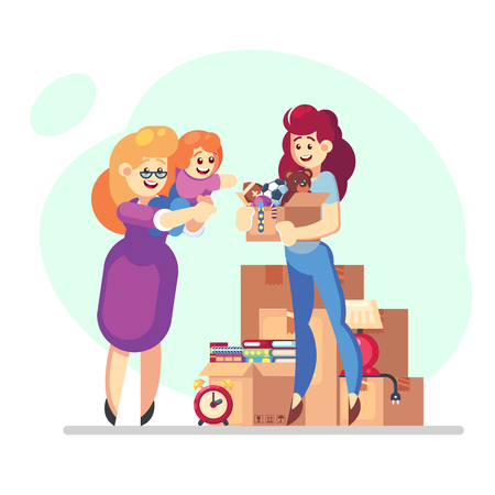 Illustration of Young Volunteer girl woman Carrying Donation Box Filled with Used Goods with mother and child - Vector flat charity help concept.