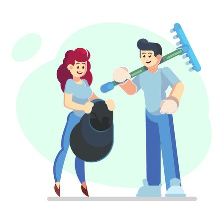 Pair of smiling male and female volunteers collecting garbage in trash bag isolated. Ecological volunteering, environment protection. Vector illustration in flat cartoon style - Vector illustration