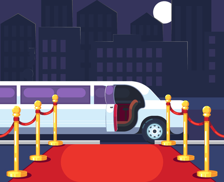 Empty red event carpet with rope barrier. Luxury ride limousine with opened door on cityscape background. Celebrity arrival, vip party and famous guest welcome template. Flat vector illustration. Illustration