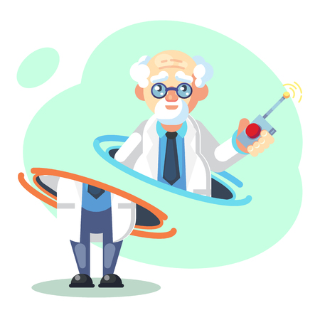 Crazy old scientist is teleporting. Funny character. Cartoon vector illustration. Mad professor. Science experiment. Person with glasses. - Vector flat illustration Illustration