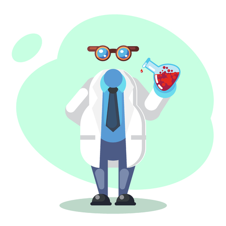 Crazy scientist is conducting a scientific experiment. Funny character. Cartoon vector illustration. Mad professor. Science experiment. Invisible man. Person with glasses. Flat cartoon Vector illustration