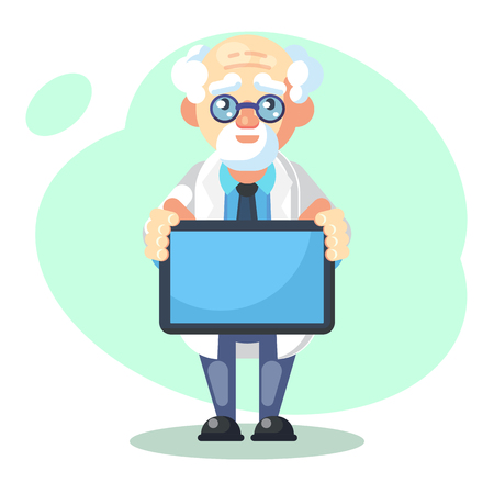 crazy scientist with messege text board - flat Vector illustration Banco de Imagens - 126008290