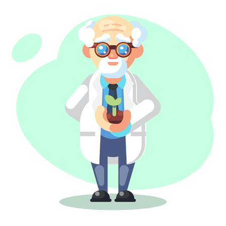 Scientist is conducting a scientific experiment. Biology concept. Growing plants. Funny flat character. Cartoon vector illustration. Mad professor. Person with glasses - Vector illustration