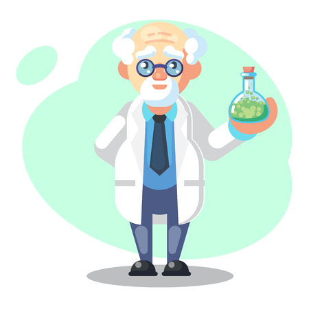Old scientist with flask, potion, mixture. Funny character. Cartoon vector illustration. Mad professor. Science experiment. Remote controller - flat Vector illustration