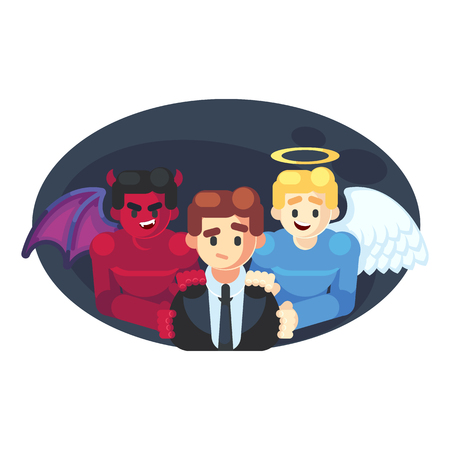 Abstract Businessman has a Moral Dilemma. Vector illustration flat cartoon styled Businessman caught up in a Catch-22 battle of wills with devil and angel helping him to decide. - Vector illustration