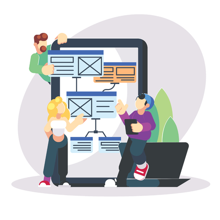 Young programmers coding a new project on big laptop. Flat modern illustration of young programmer coding a new project using programmimg skills and working as system admin - Illustration eps10 Banco de Imagens - 125880108