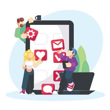 Mobile application development creative design. Teamwork student social media concept. Coworkers creating smartphone app interface. Flat. Vector illustration eps10