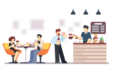 Cafe shop and people relaxing. Modern place interior to meet, drink and eat, chat, have a rest, enjoy free time, barista makes and serves coffee for public. Vector flat style cartoon illustration eps10 Illustration