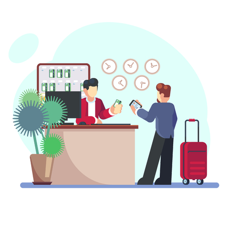 Hotel Check-in Registration of a hotel room. Businessman with a suitcase about the reception desk. Vector illustration in flat style - Vector.