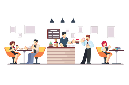 Cafe shop and people relaxing. Modern place interior to meet, drink and eat, chat, have a rest, enjoy free time, barista makes and serves coffee for public. Vector flat style cartoon illustration.