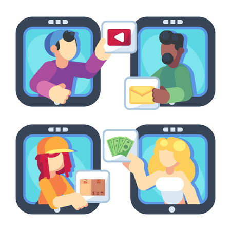 People chatting online together flat poster. Men and women changing messages video data and trading online shop internet apps vector flat illustration. Social media concept Banque d'images - 120278577