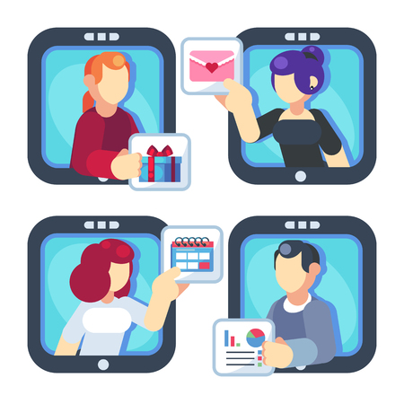 People chatting online together flat poster. Men and women changing messages gifts dating and working internet apps vector flat illustration. Social media concept.