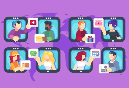 People chatting online together flat poster. Men and women changing messages video data gifts dating and working trading online shop internet apps vector flat illustration. Social media concept.