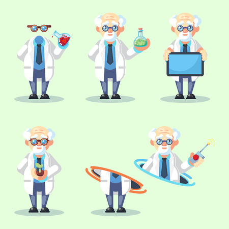Set of Crazy old scientist is conducting a scientific experiment teleporting Growing plants Invisible messege text board flask. Funny game character. Flat cartoon vector illustration