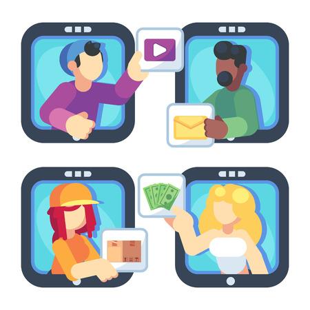 People chatting online together flat poster. Men and women changing messages video data and trading online shop internet apps vector flat illustration. Social media concept. Ilustração