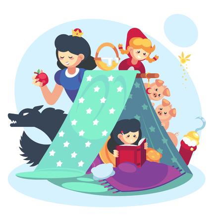 Concepto de imaginación, niño niña con libro abierto. Manta de personaje de cuentos de hadas fuerte infancia feliz Ilustración de vector
