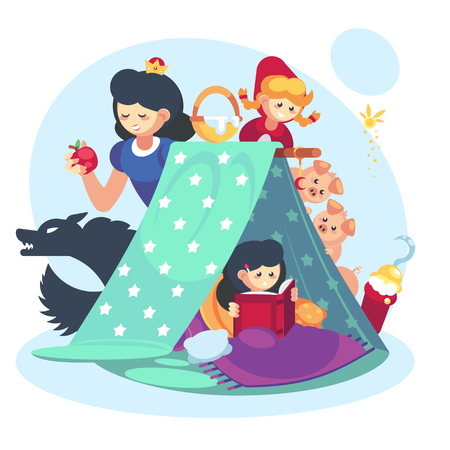 Imagination concept, child little girl with open book. Fairy Tales character Blanket fort happy childhood