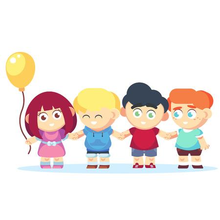 Group of happy kids holding hands. Friendship concept flat cartoon Vector illustration Ilustração