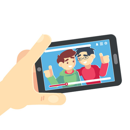 Watching Video On Smartphone Vector friends. Hand Holding Smartphone. Movie App Concept. Isolated Flat Illustration. Banque d'images - 120199875