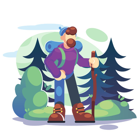 Active lifestyle, tourism concept. A young man hiker is standing in a forest with a backpack - Flat Vector illustration. Banque d'images - 120199877