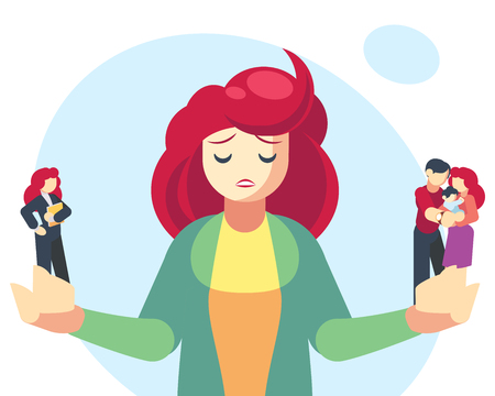 Woman choosing between family or parent responsibilities and career or professional success. Difficult choice, life dilemma, search of balance, decision making. Flat cartoon vector illustration Illustration