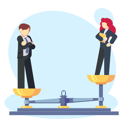 Man woman scales concept with male and female, male weighing more. Gender gap and inequality Businessman and businesswoman Symbol of discrimination difference and injustice Flat vector illustration. Illustration