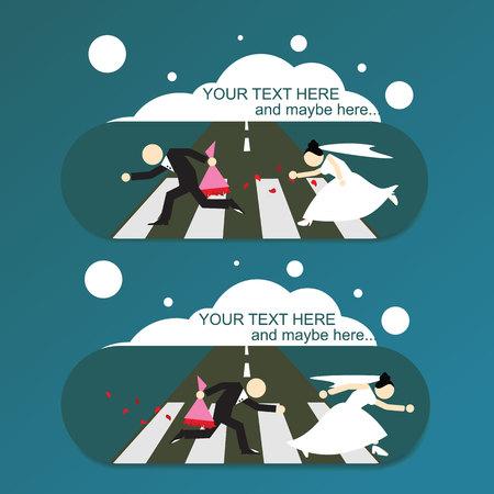 Runaway bride  groom, wedding invitation card. Illustration