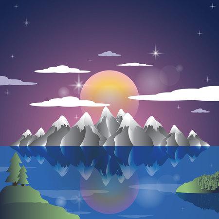 Alps Landscape sunset cartoon illustration background. Mountains vector.