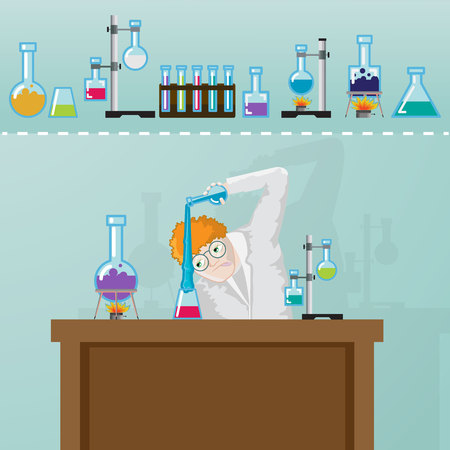 Professor doing chemistry experiment in laboratory.