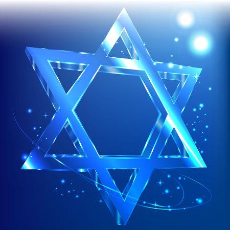 Blue Star of David glass glowing in the dark. Jewish symbol. Illustration