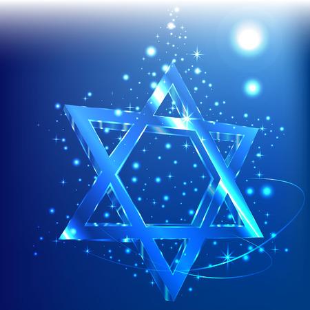 Blue bokeh star of David glass glowing in the dark. Jewish symbol. Illustration
