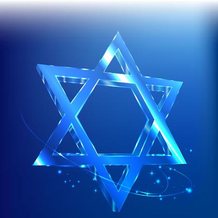 Blue clean star of David glass glowing in the dark. Jewish symbol.