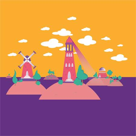 Abstract cartoon illustration of isle hills with mill , park , lighthouse , in the sea .