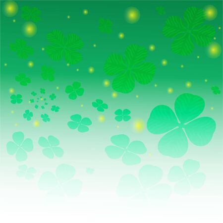 Clover leaf abstract white green with magic lights background.