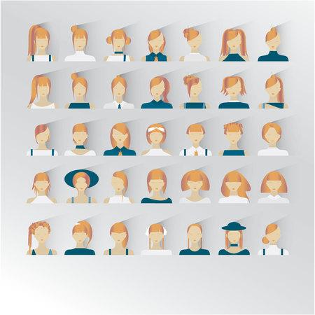 Avatar of blond hair female faces illustration Illustration