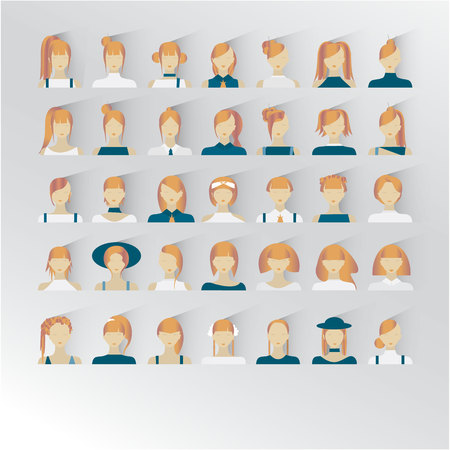 Avatar of blond hair female faces illustration Illustration